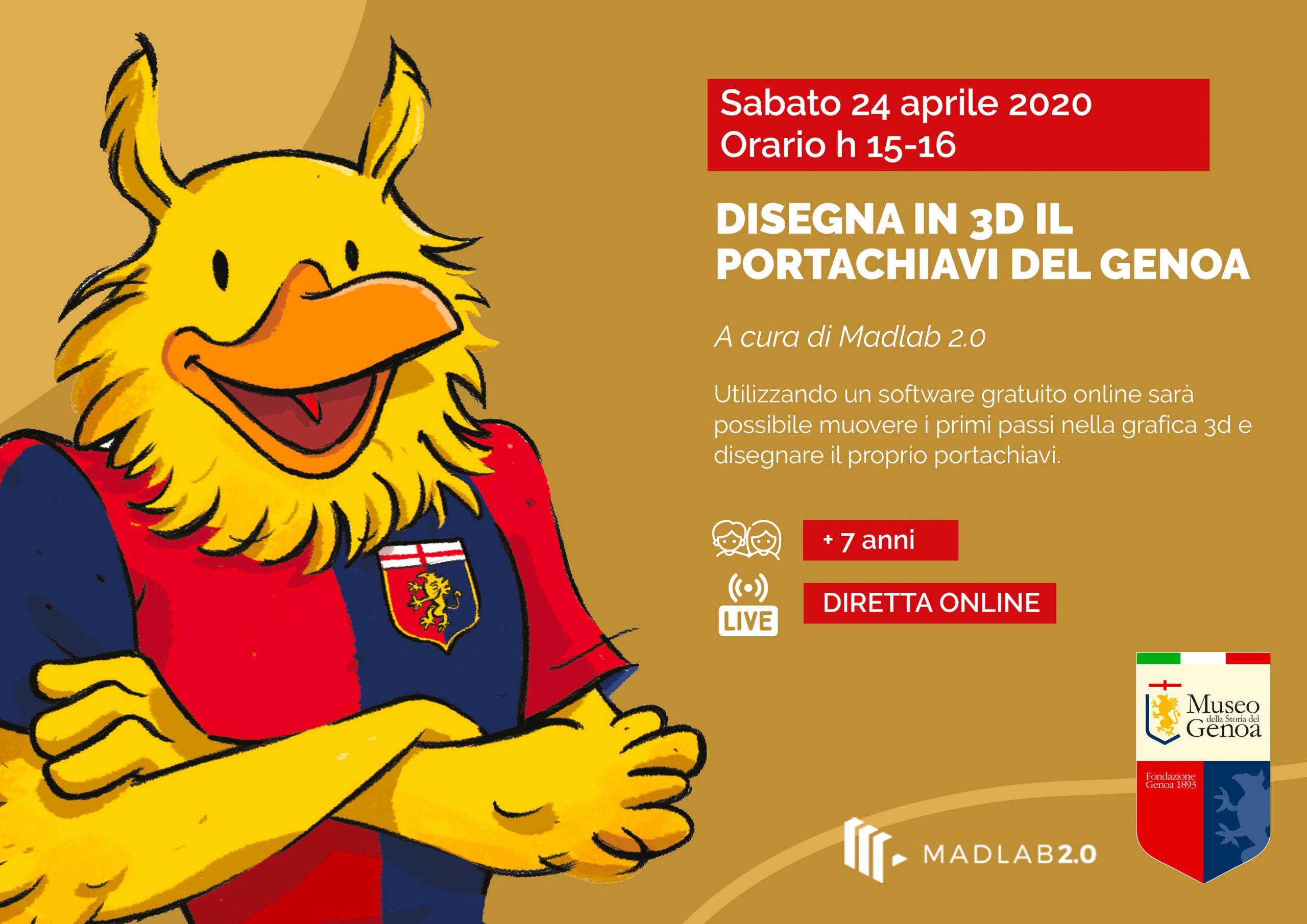 disegna in 3d il portachiavi del Genoa